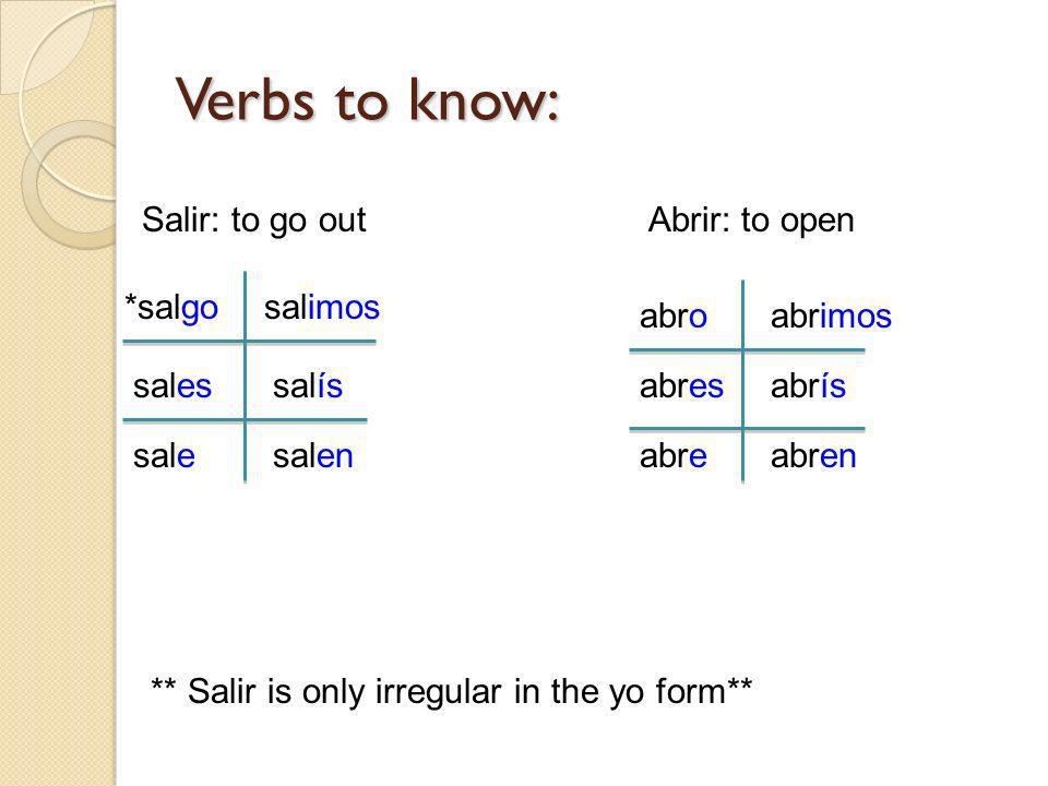 Verbs to know: Salir: to go out Abrir: to open *salgo salimos abro