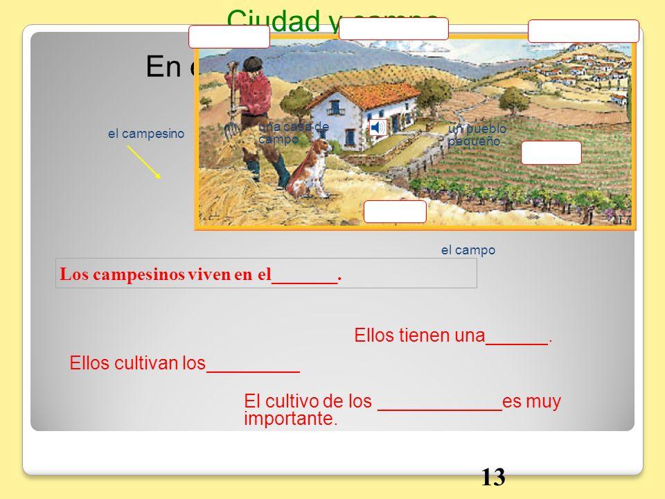 Ciudad y campo En el campo 13 Los campesinos viven en el_______.