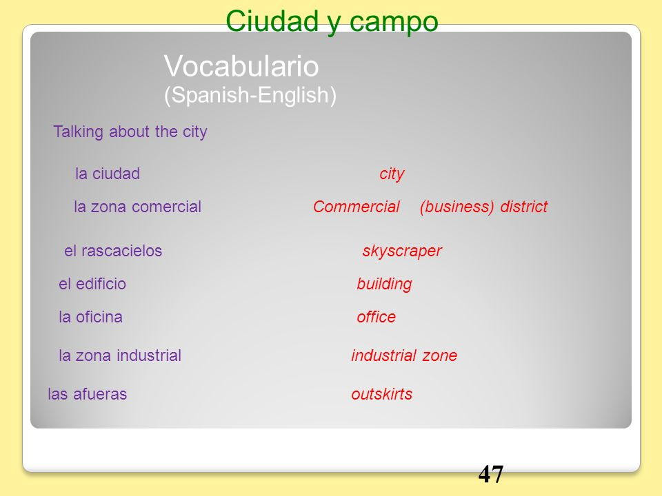 Ciudad y campo Vocabulario 47 (Spanish-English) Talking about the city