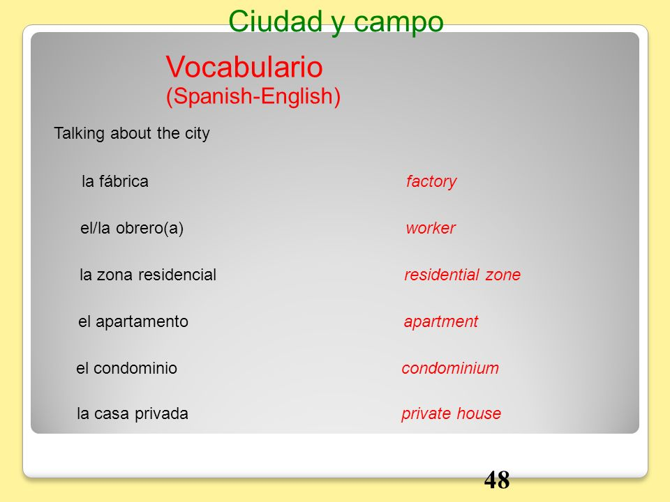 Ciudad y campo Vocabulario 48 (Spanish-English) Talking about the city