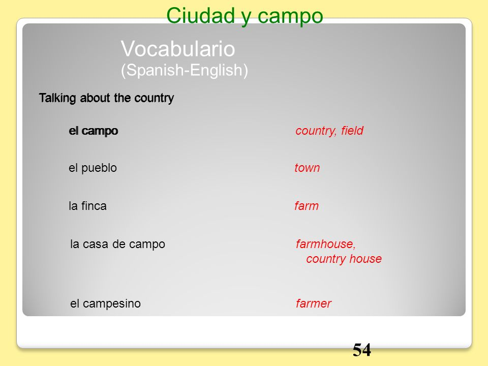 Ciudad y campo Vocabulario 54 (Spanish-English)