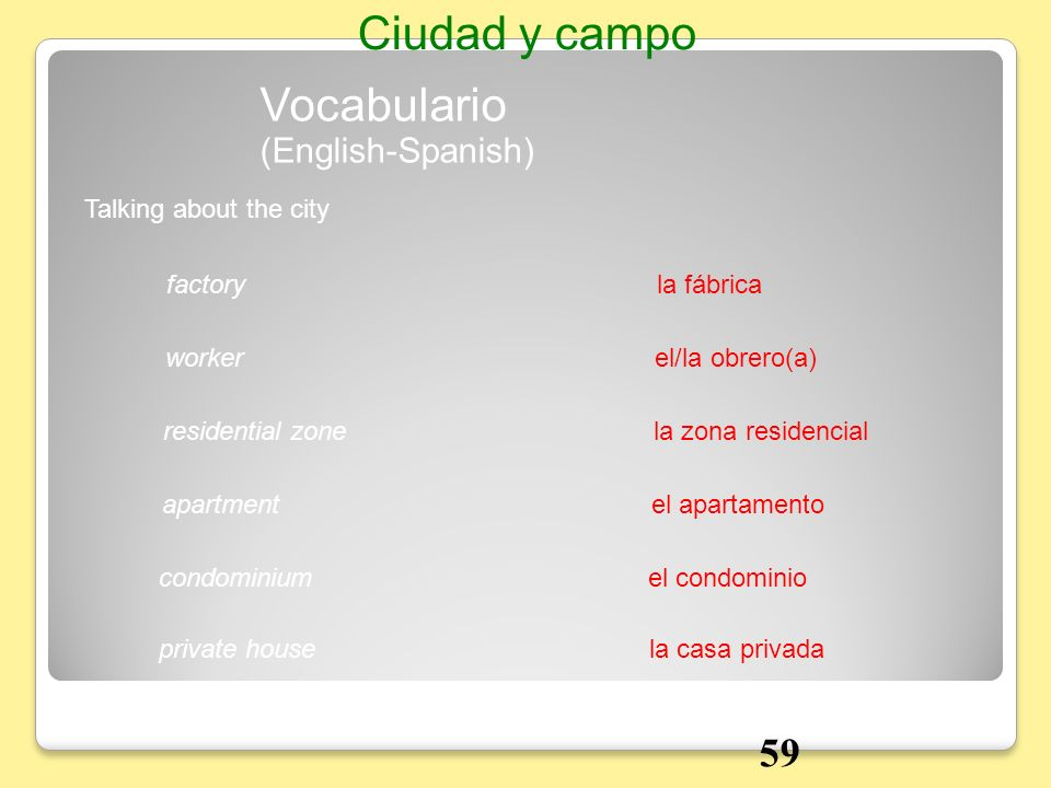 Ciudad y campo Vocabulario 59 (English-Spanish) Talking about the city