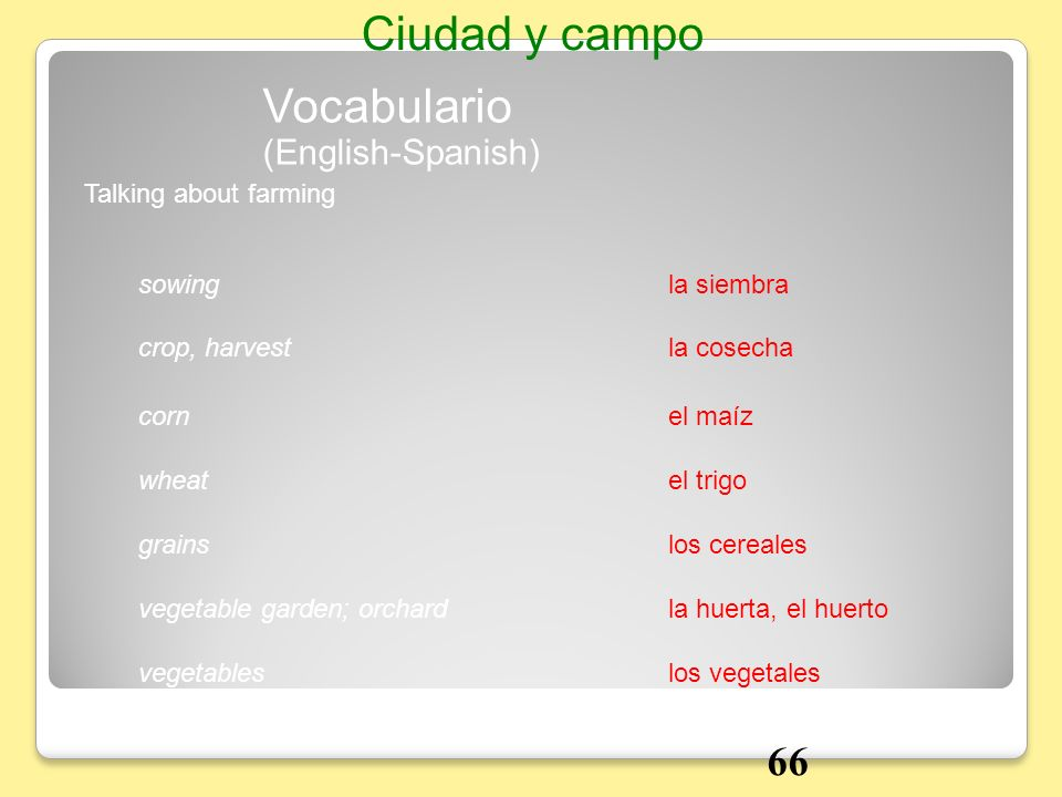 Ciudad y campo Vocabulario 66 (English-Spanish) Talking about farming