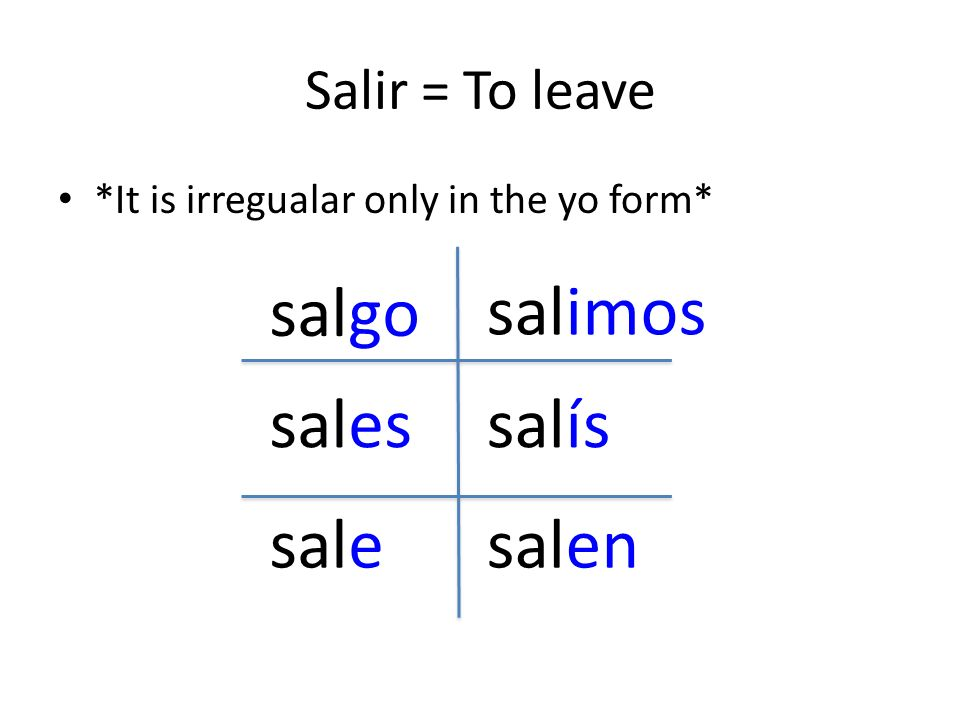 salgo salimos sales salís sale salen Salir = To leave