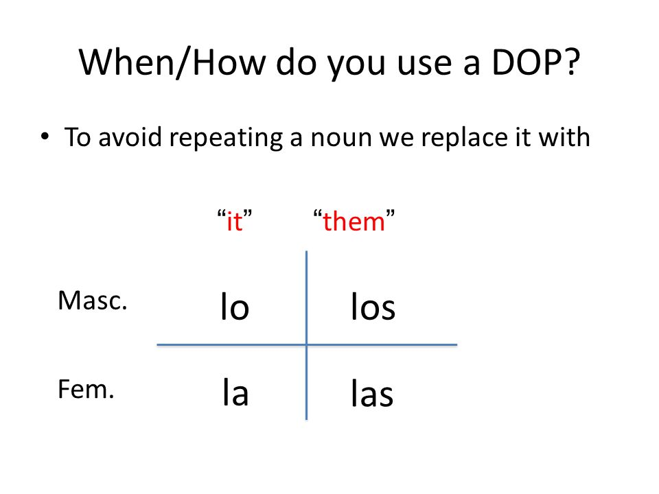 When/How do you use a DOP