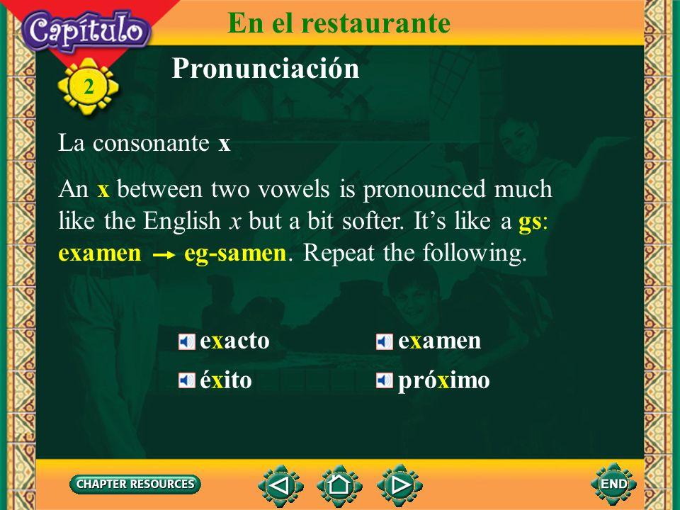 En el restaurante Pronunciación La consonante x