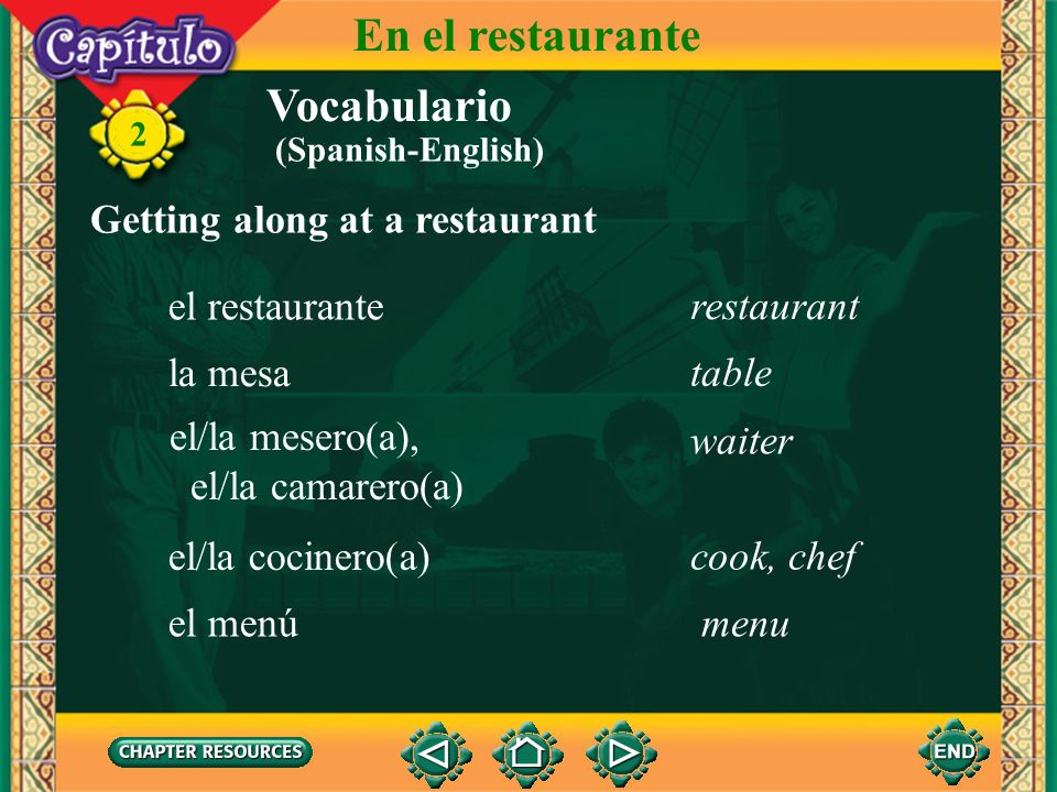 En el restaurante Vocabulario Getting along at a restaurant