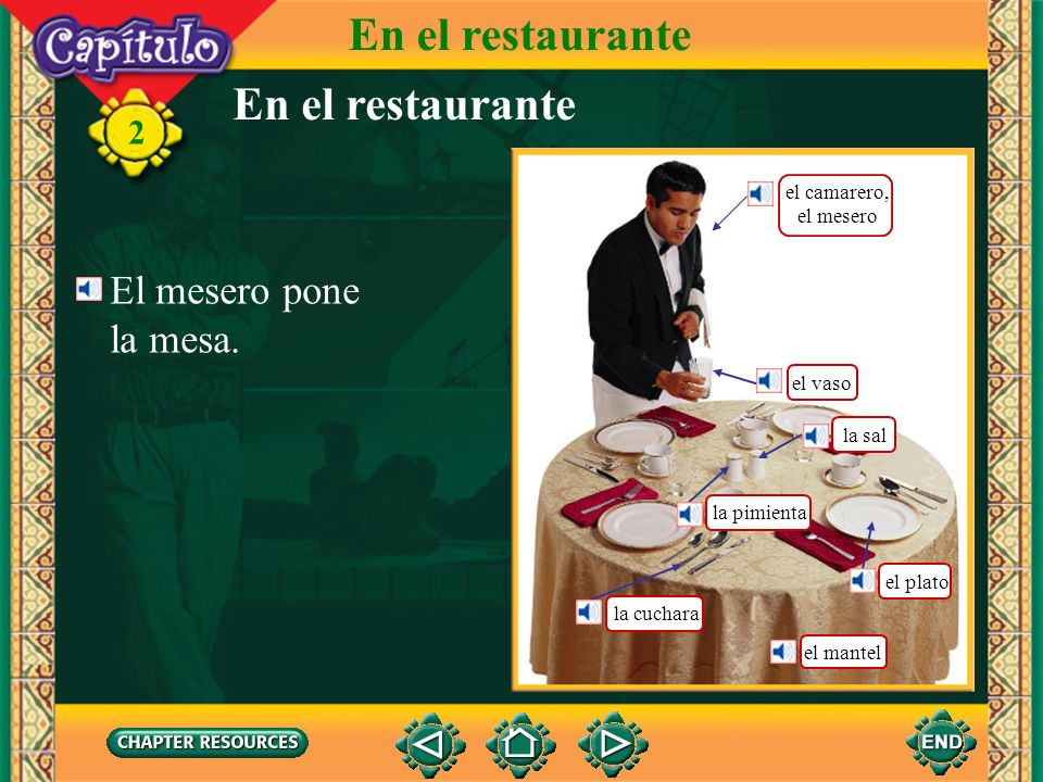 En el restaurante En el restaurante El mesero pone la mesa.
