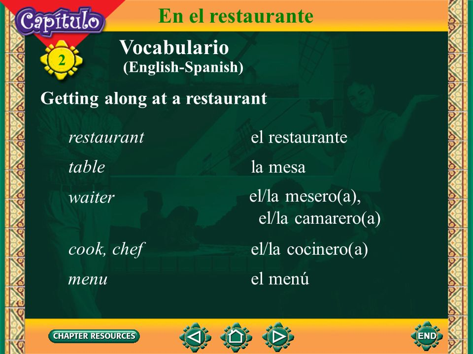 En el restaurante Vocabulario Getting along at a restaurant restaurant