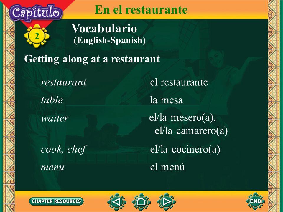 En el restaurante Vocabulario Getting along at a restaurant restaurant