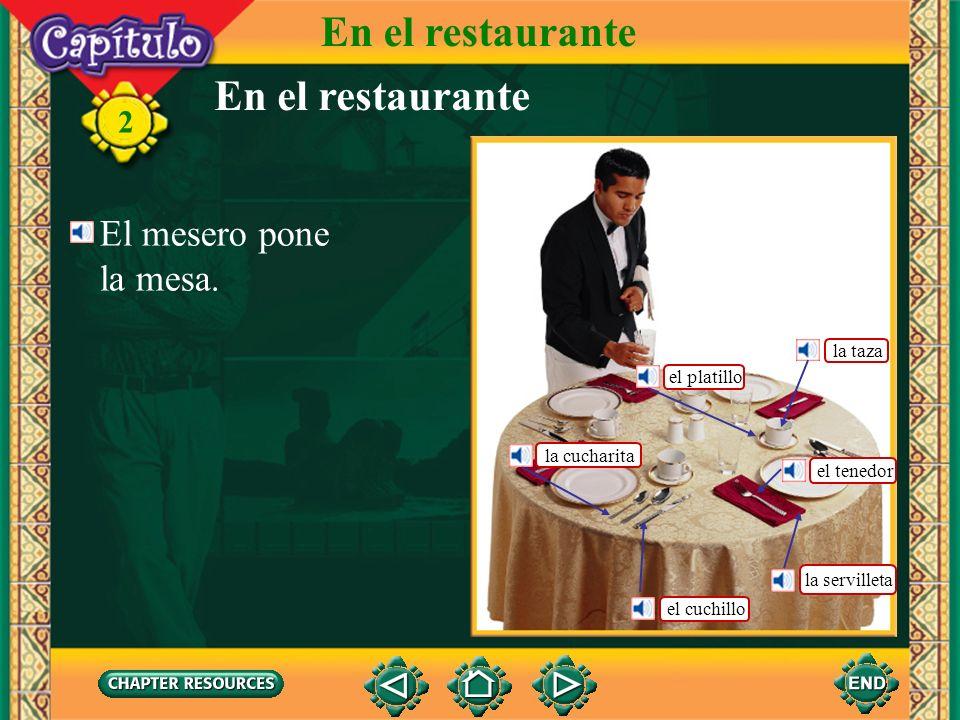 En el restaurante En el restaurante El mesero pone la mesa. la taza