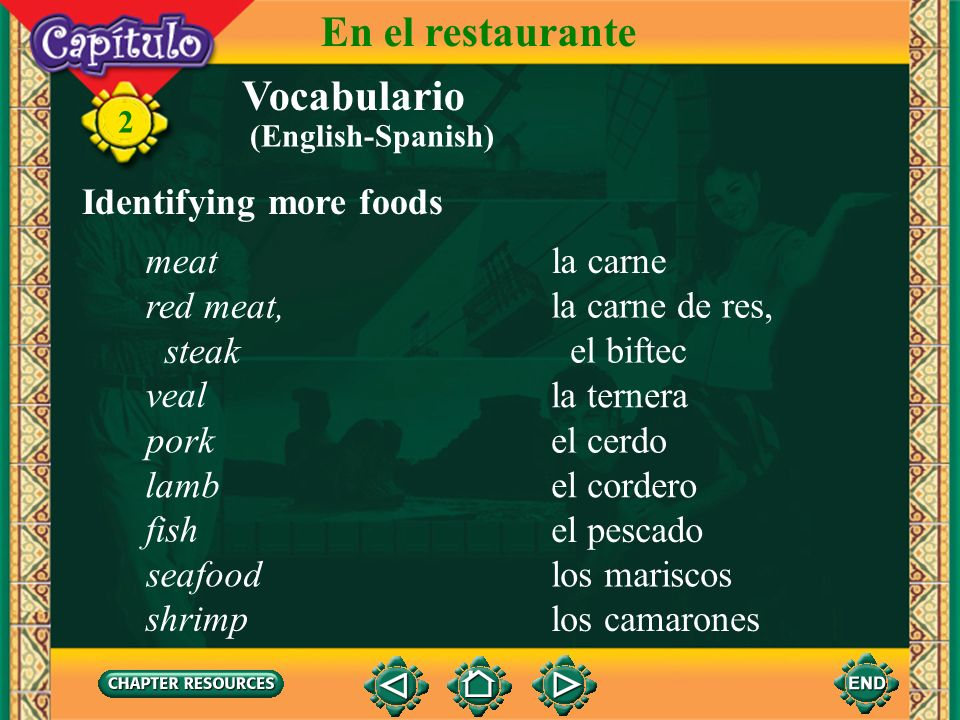 En el restaurante Vocabulario Identifying more foods meat la carne