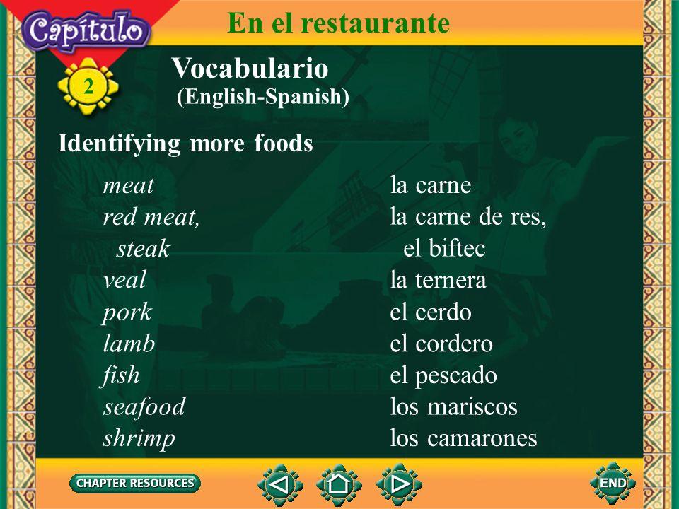 En el restaurante Vocabulario Identifying more foods meat la carne