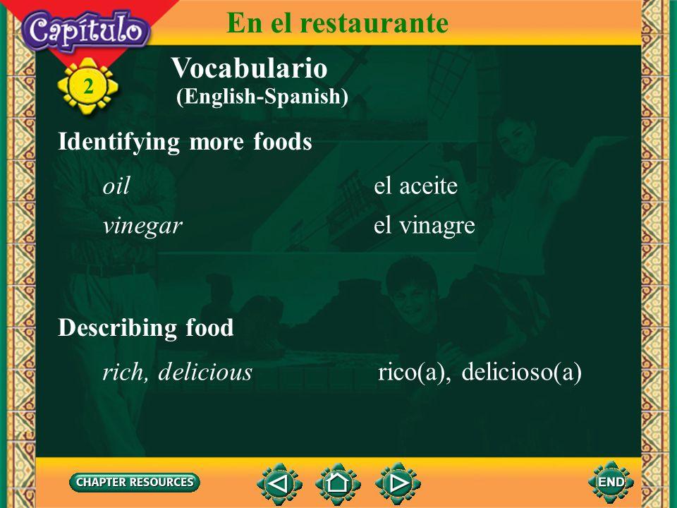 En el restaurante Vocabulario Identifying more foods oil el aceite