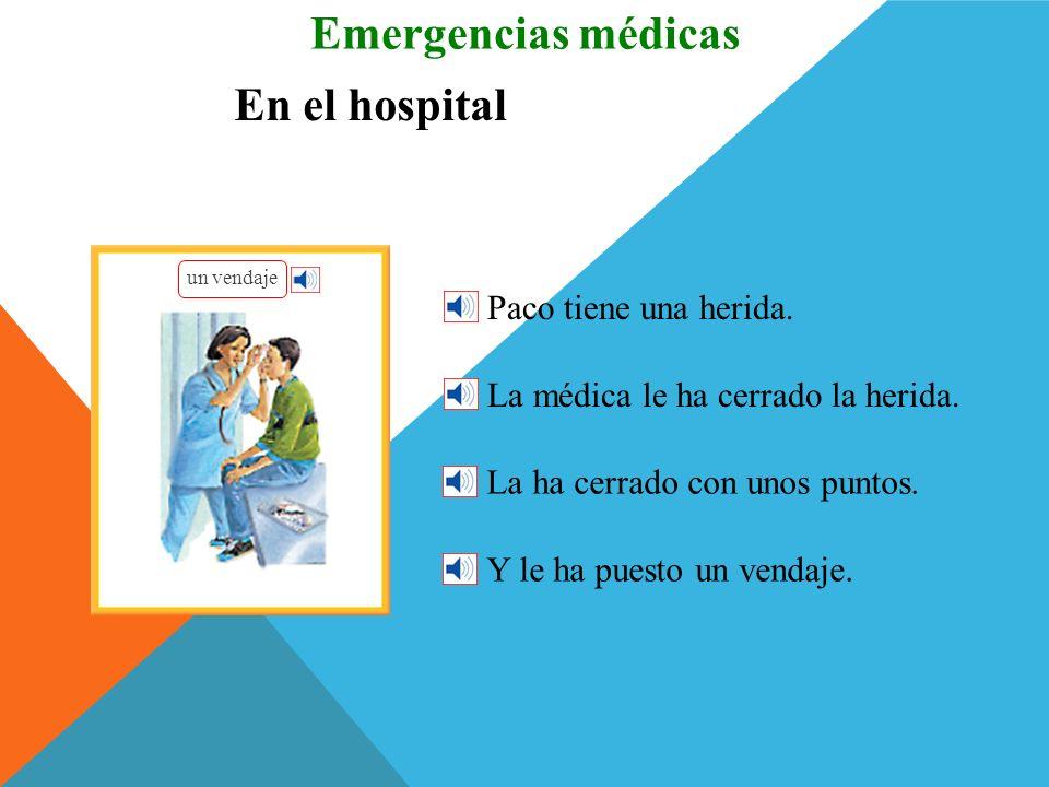 Emergencias médicas En el hospital Paco tiene una herida.