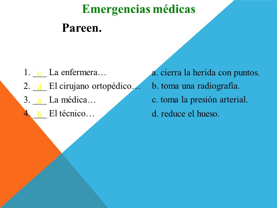 Emergencias médicas Pareen. 1. ___ La enfermera… c