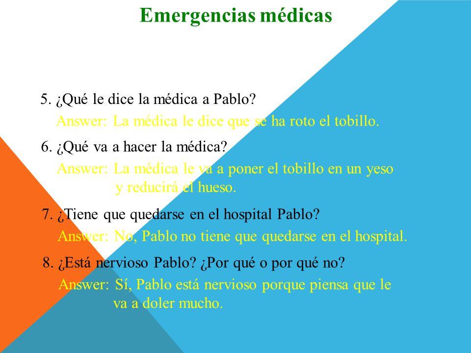 Emergencias médicas ¿Comprendes 5. ¿Qué le dice la médica a Pablo