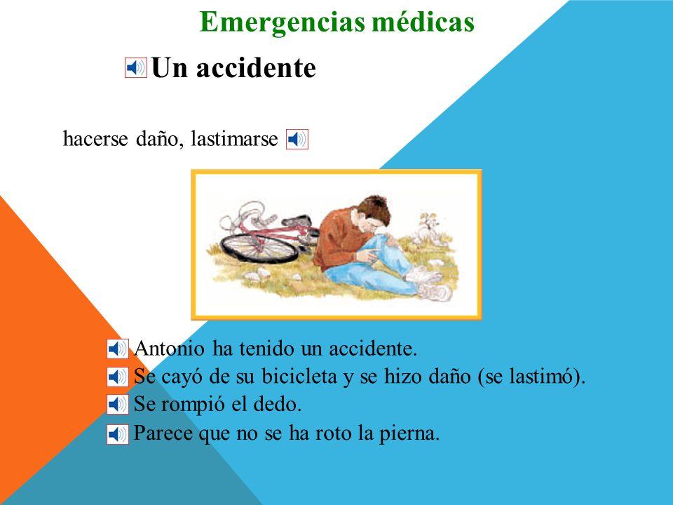 Emergencias médicas Un accidente hacerse daño, lastimarse
