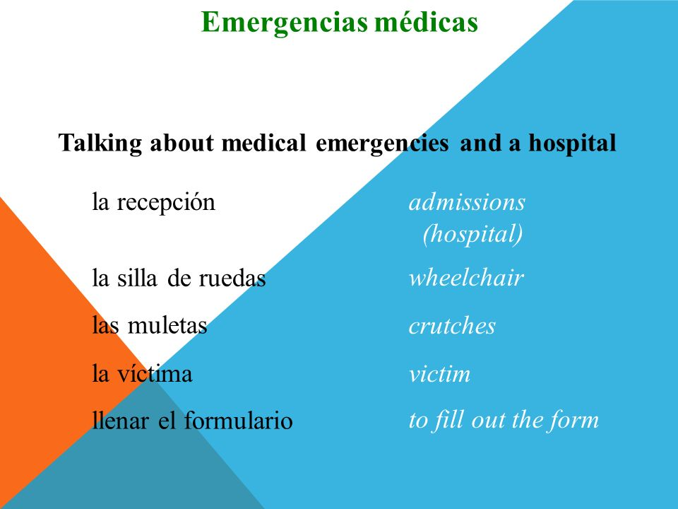 Emergencias médicas Vocabulario