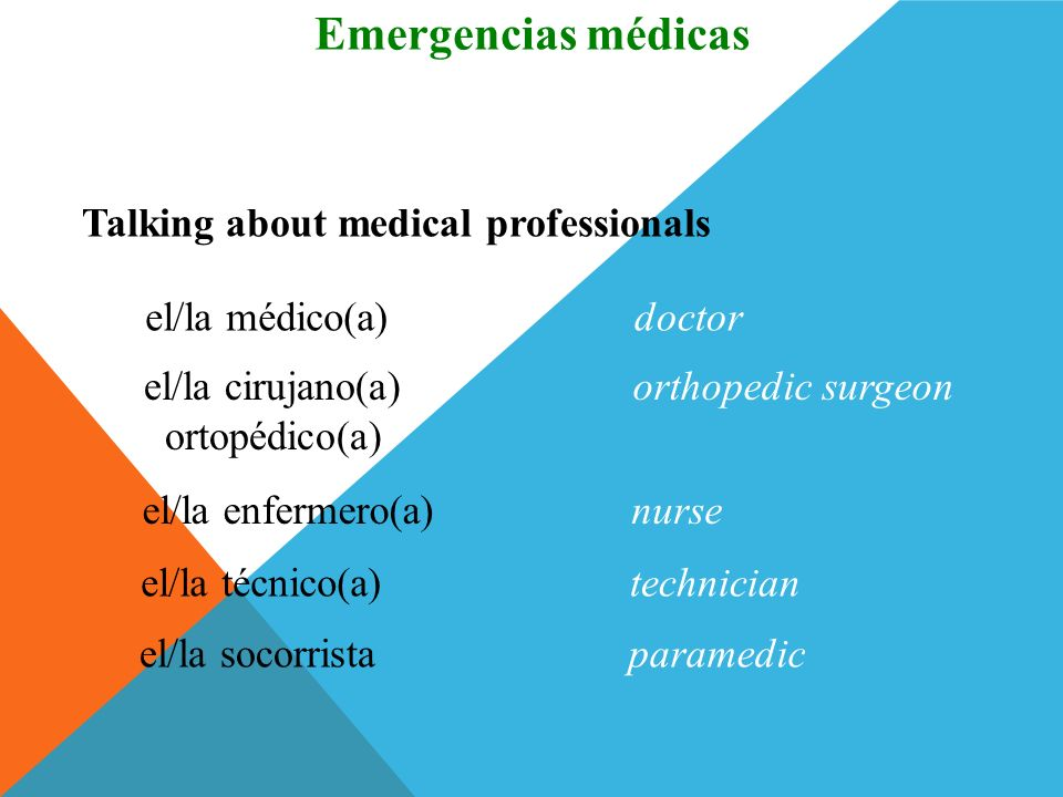 Emergencias médicas Vocabulario Talking about medical professionals