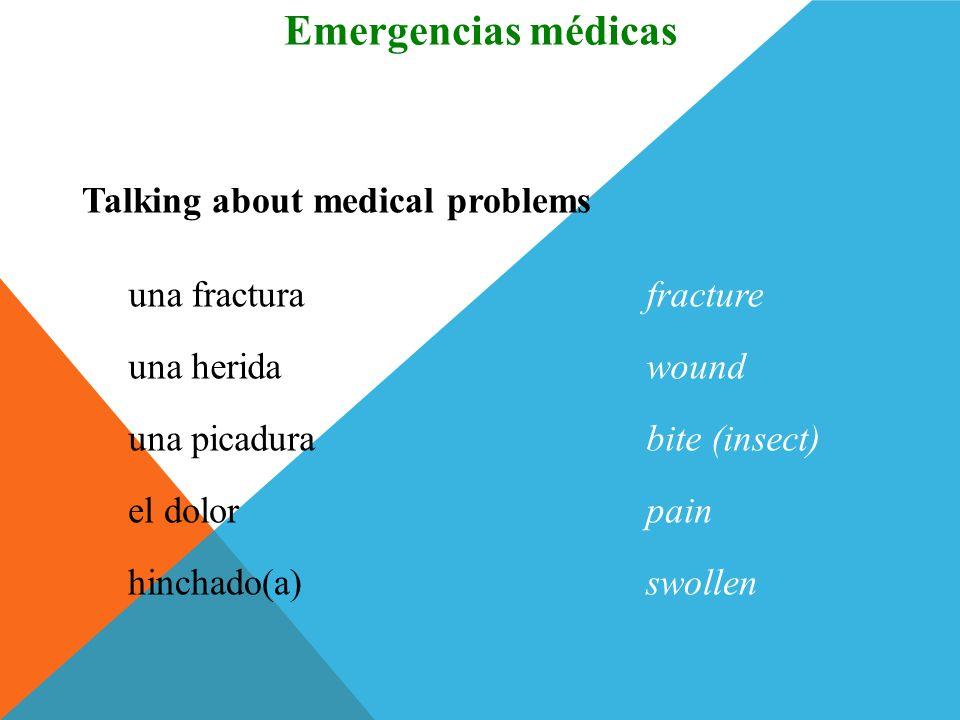 Emergencias médicas Vocabulario Talking about medical problems