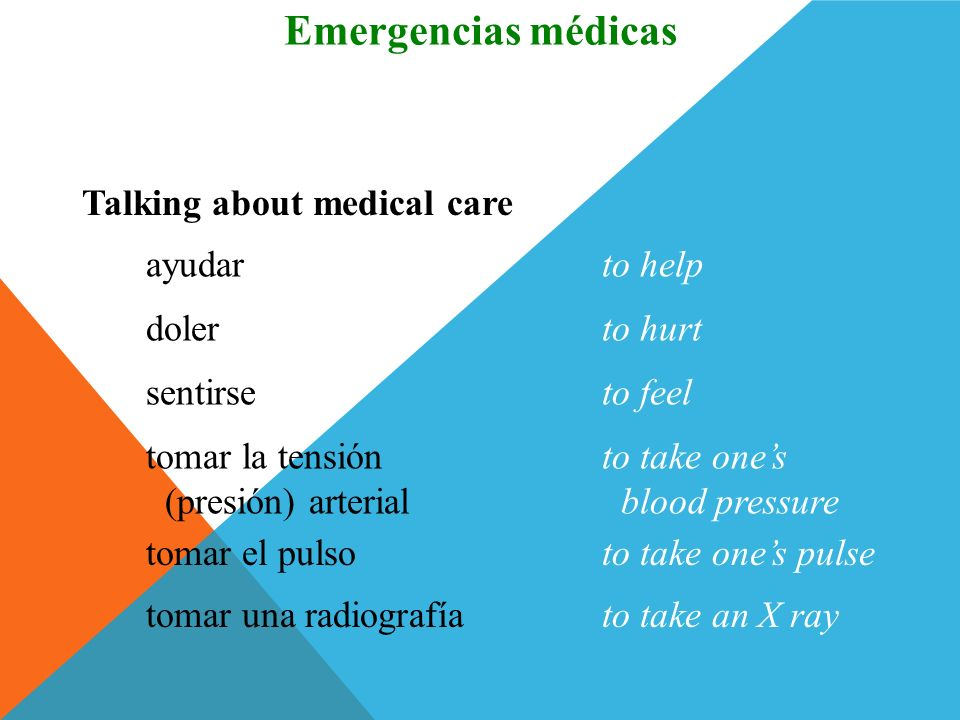 Emergencias médicas Vocabulario Talking about medical care ayudar
