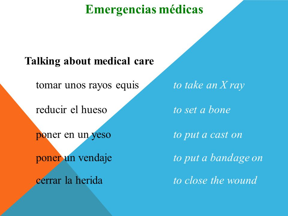 Emergencias médicas Vocabulario Talking about medical care