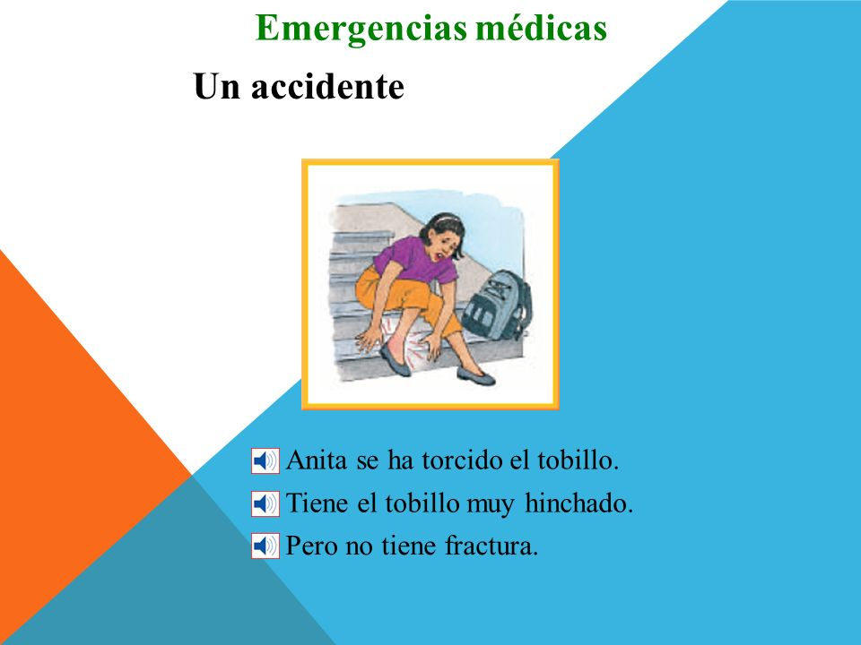 Emergencias médicas Un accidente Anita se ha torcido el tobillo.