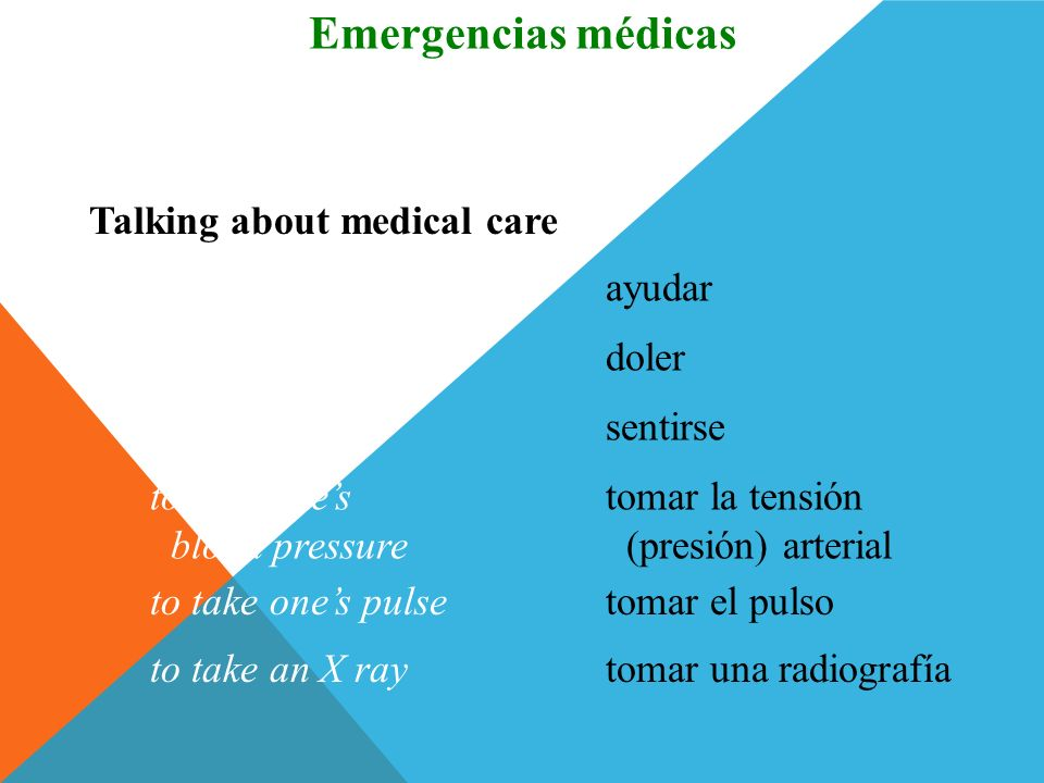 Emergencias médicas Vocabulario Talking about medical care to help