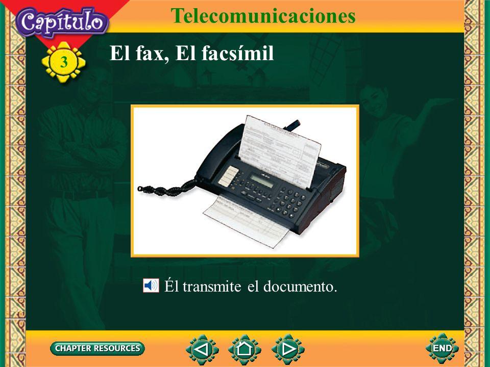 Telecomunicaciones El fax, El facsímil Él transmite el documento.