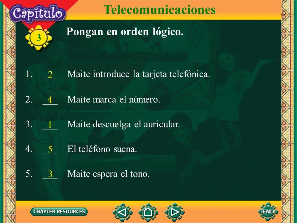 Telecomunicaciones Pongan en orden lógico.