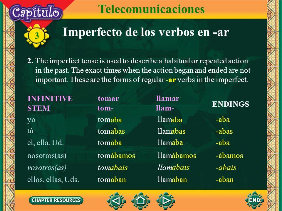 Imperfecto de los verbos en -ar