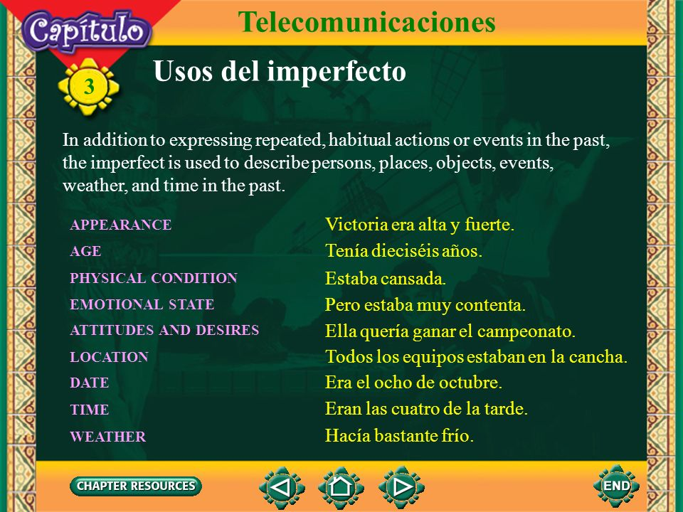 Telecomunicaciones Usos del imperfecto