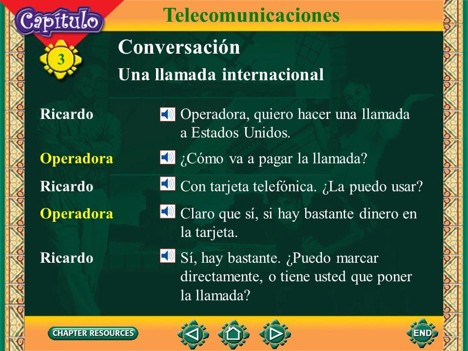 Telecomunicaciones Conversación Una llamada internacional