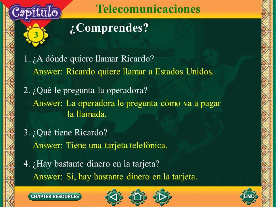 Telecomunicaciones ¿Comprendes 1. ¿A dónde quiere llamar Ricardo
