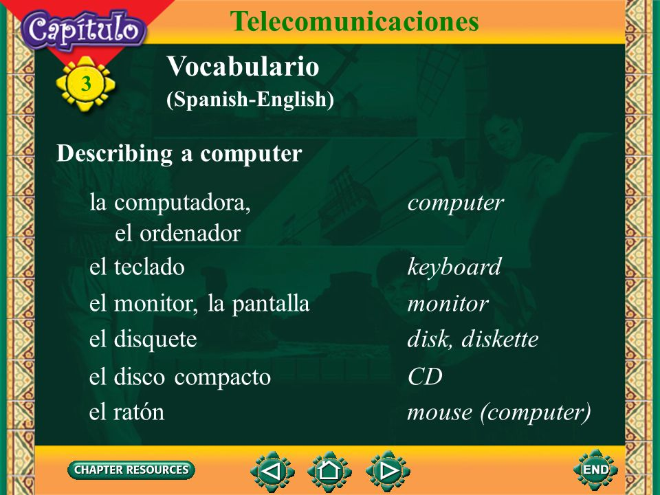 Telecomunicaciones Vocabulario Describing a computer la computadora,