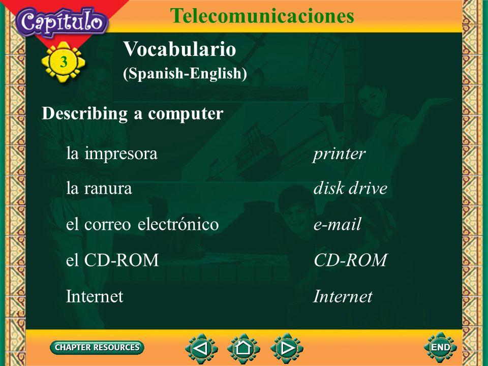 Telecomunicaciones Vocabulario Describing a computer la impresora
