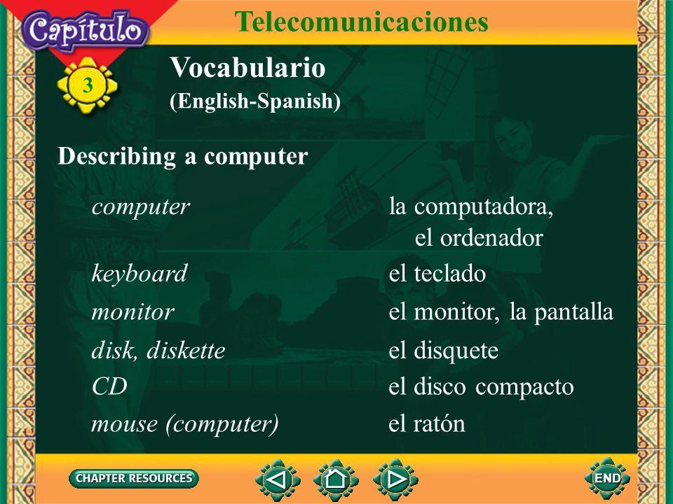 Telecomunicaciones Vocabulario Describing a computer computer