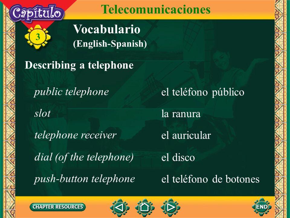 Telecomunicaciones Vocabulario Describing a telephone public telephone