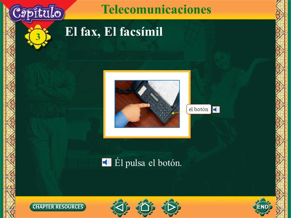 Telecomunicaciones El fax, El facsímil el botón Él pulsa el botón.
