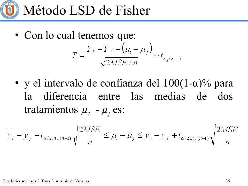 Método LSD de Fisher Con lo cual tenemos que: