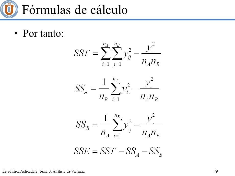 Fórmulas de cálculo Por tanto: