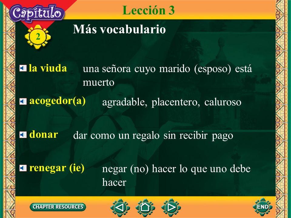 Lección 3 Más vocabulario la viuda