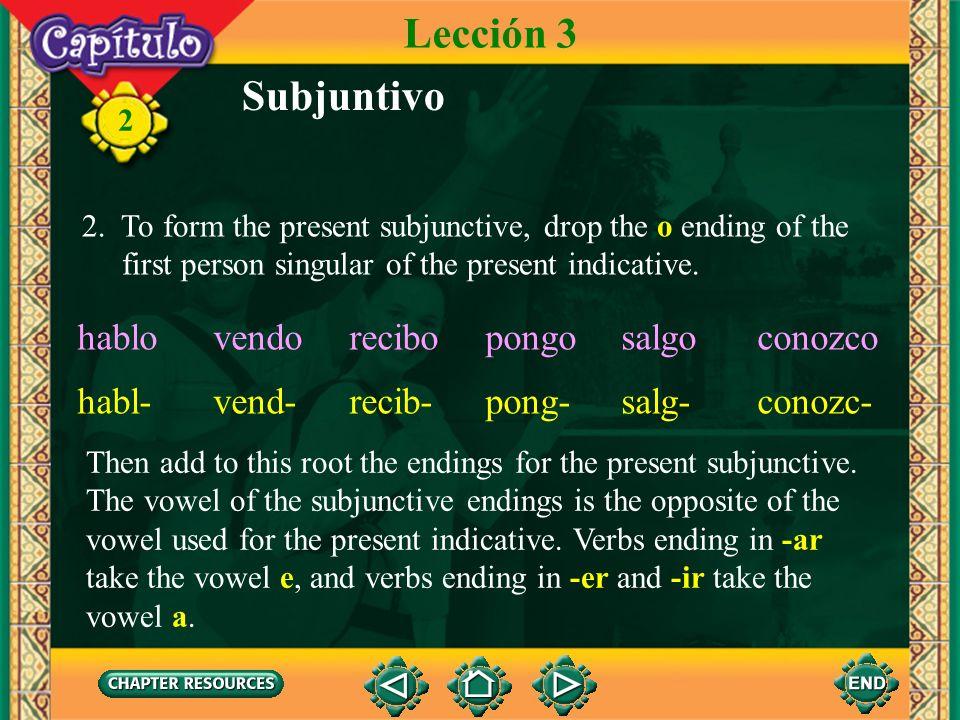 Lección 3 Subjuntivo hablo vendo recibo pongo salgo conozco habl-