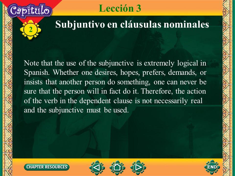 Subjuntivo en cláusulas nominales
