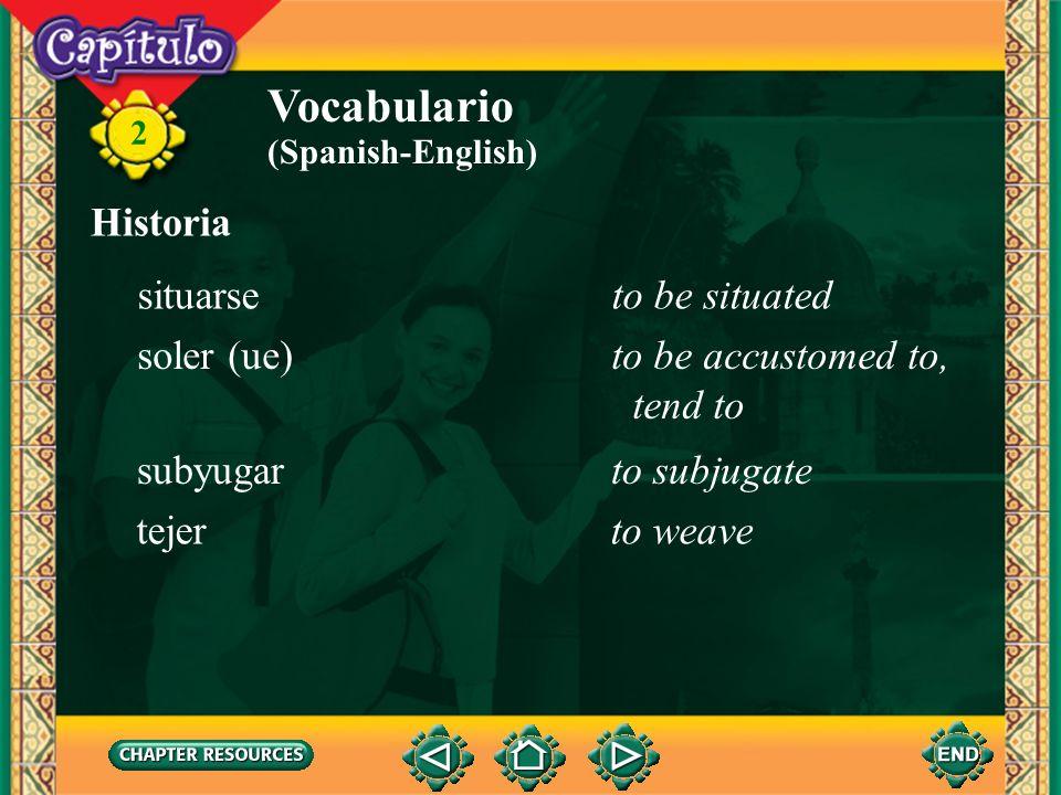Vocabulario Historia situarse to be situated soler (ue)