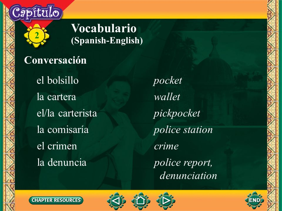 Vocabulario Conversación el bolsillo pocket la cartera wallet