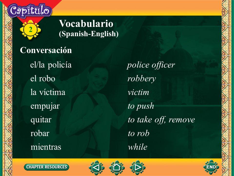 Vocabulario Conversación el/la policía police officer el robo robbery