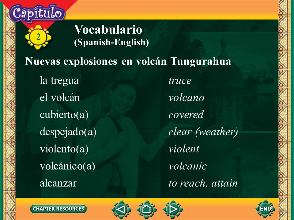 Vocabulario Nuevas explosiones en volcán Tungurahua la tregua truce