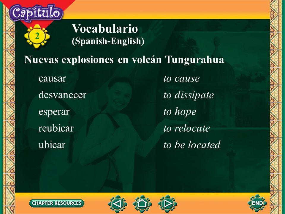 Vocabulario Nuevas explosiones en volcán Tungurahua causar to cause